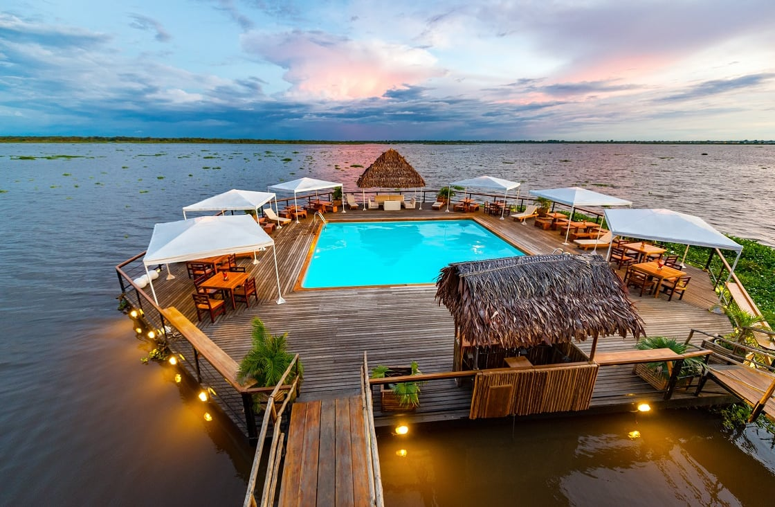 Swimming,Pool,Floating,In,The,Amazon,River,In,Iquitos,,Peru