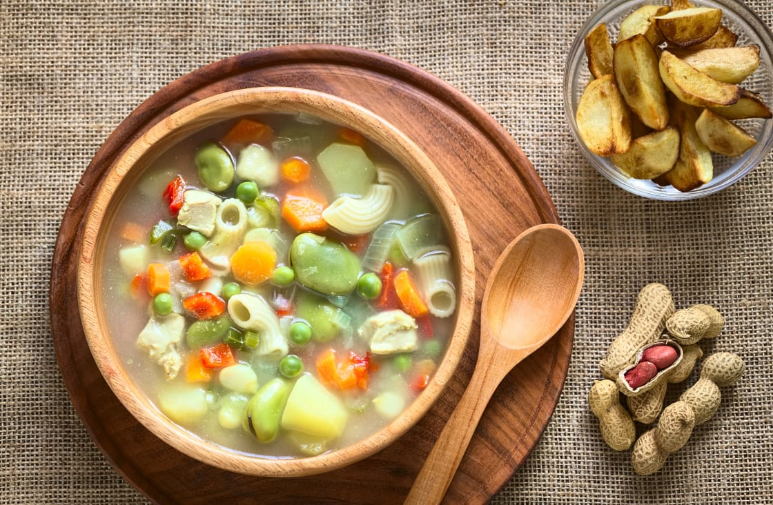 Bolivian Traditional Sopa De Mani (peanut,Soup) Made with Meat