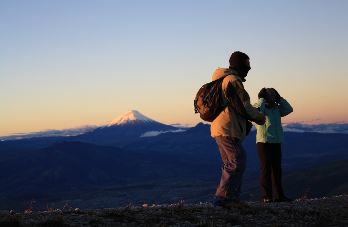 Father and Son admiring the Cotopaxi Volcano