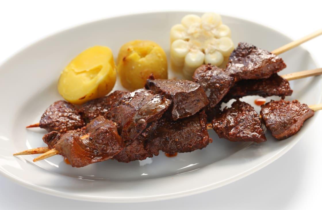 Anticuchos; Grilled Skewered Beef Heart Meat