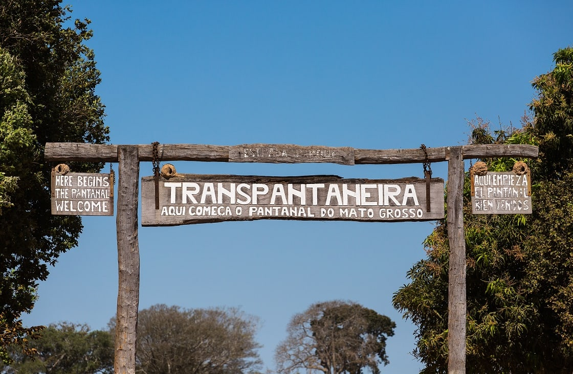 Sign At The Entrance To The Trans-pantanal Highway