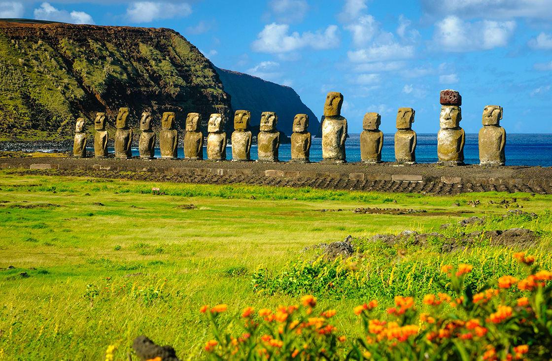 The Ancient Moai Of Ahu Togariki On Easter Island