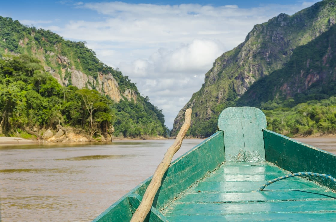 Traveling By Wooden Boat On Beni River, Bolivia