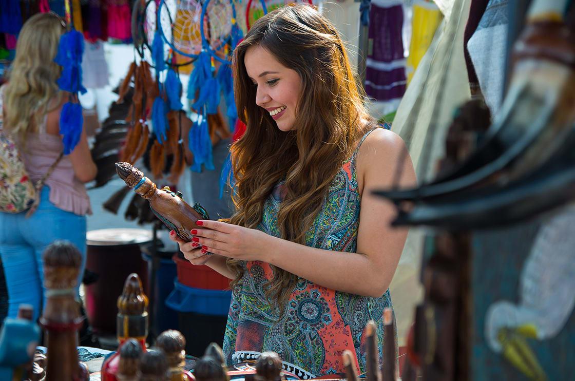 Tourist in Otavalo Market