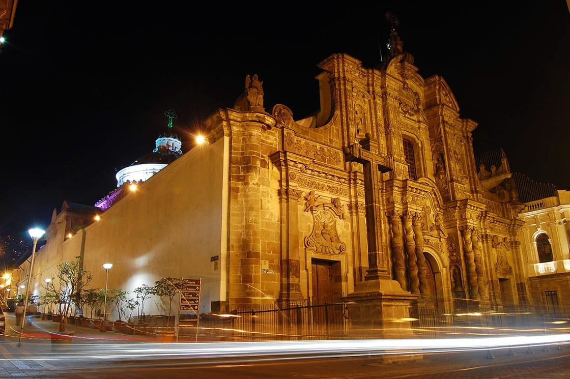 La Compania Church At Night In Downtown Quito Ecuador