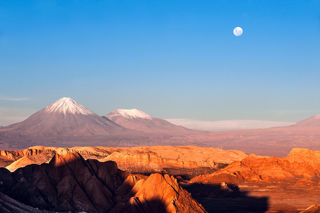 Licancabur & Juriques Volcanos At The Moon Valley, Atacama Desert