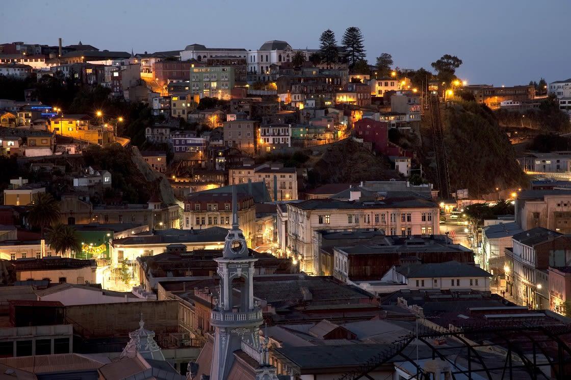 Panoramic View Of Valaparaiso At Night