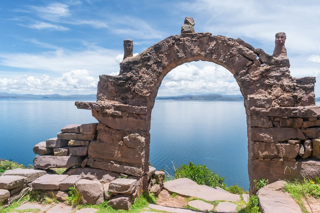 Famous Arch In Taquile Island, Lake Titicaca