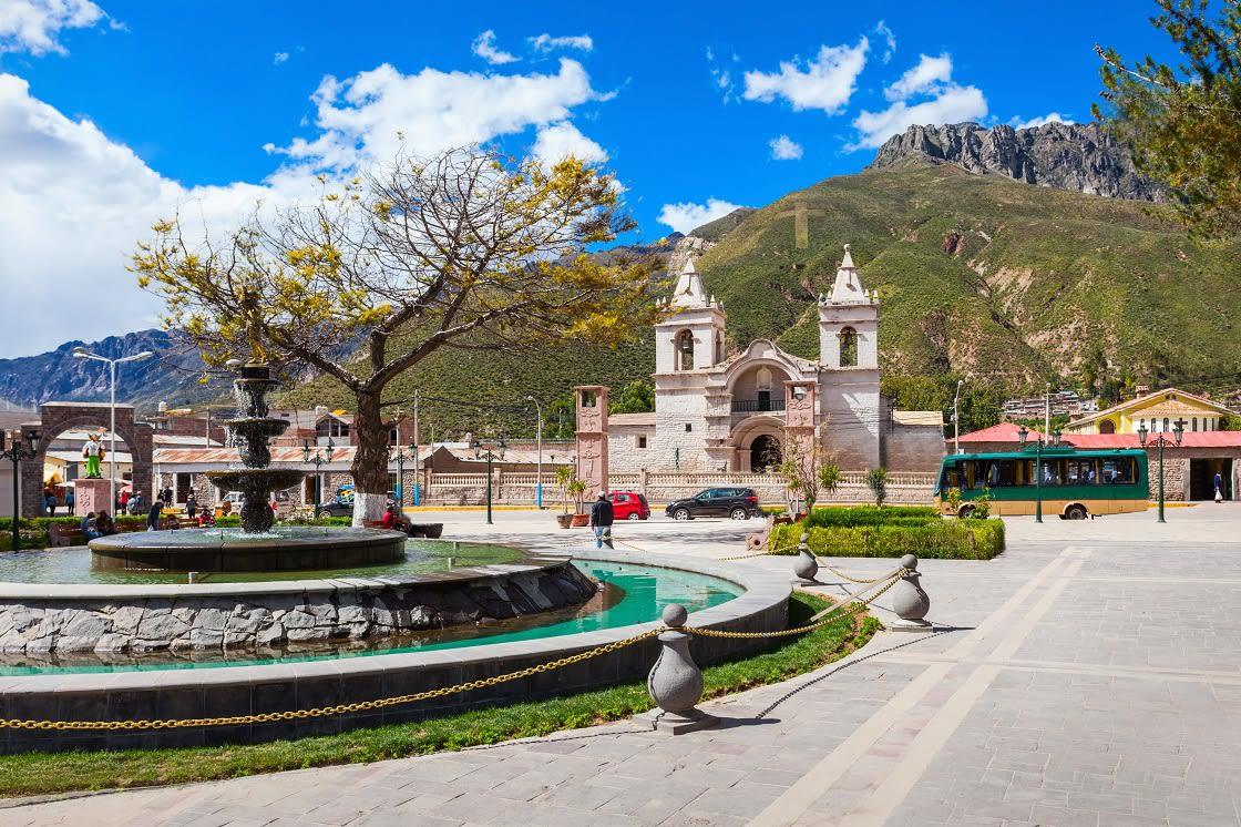 Chivay Main Square and Main Church, Colca, Arequipa - Peru