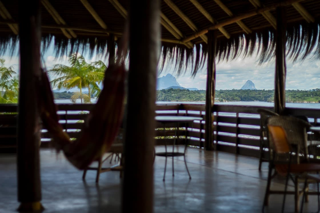Hut With Net And Chair With View To The Mountains