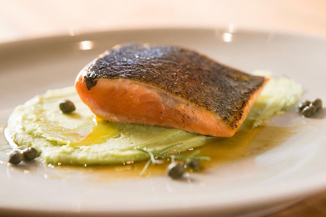 Perfect Pan Seared Trout with Capers Butter and Mashed Fava Beans
