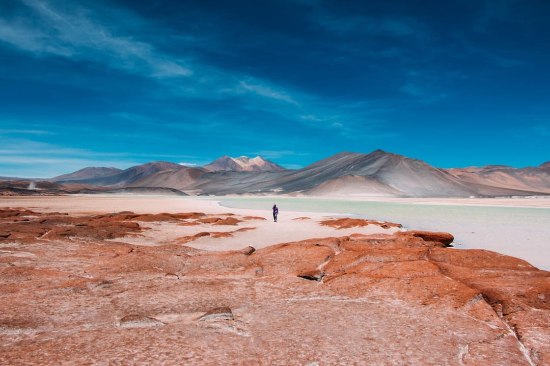 The Atacama Desert covers 1,600 km strip of land on the Pacific coast, west of the Andes Mountains