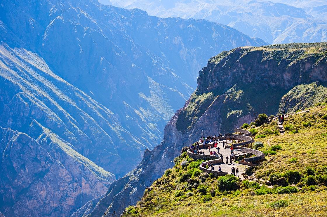 Tourists At The Cruz Del Condor Viewpoint, Colca Canyon - Peru