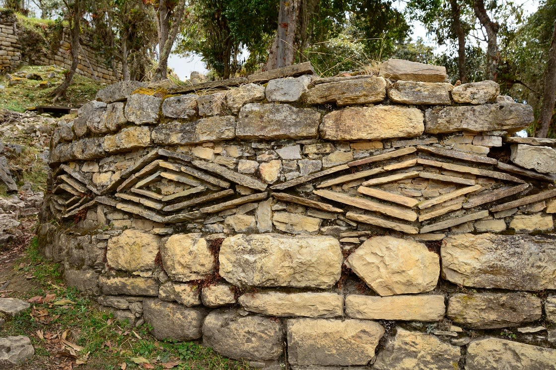 Beautiful Decorative Designs On The Stone Walls In The Ruins Of Kuelap