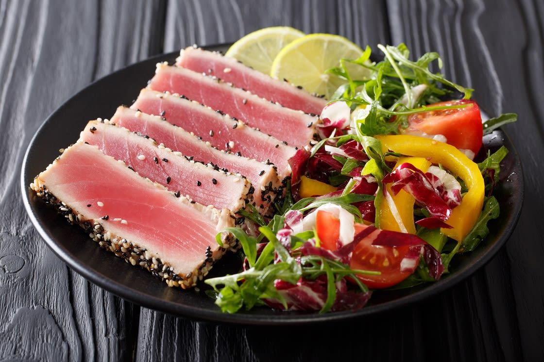 Easter Island Cuisine: Tuna-Ahi; Tuna Steak In Sesame, Lime And Fresh Salad