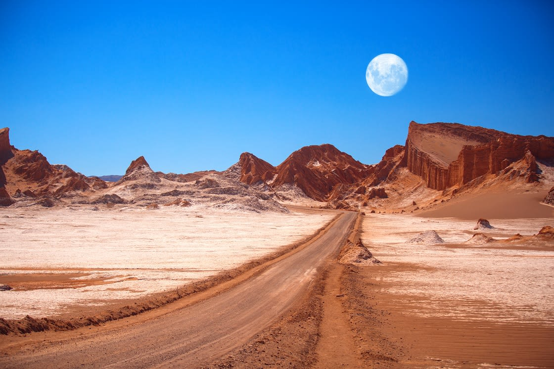 Amphitheatre Is Beautiful Geological Formation Of Moon Valley In Atacama