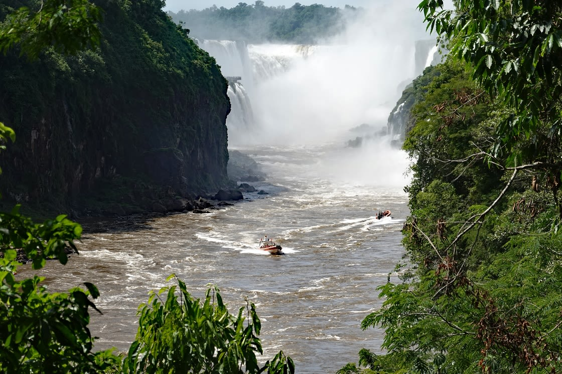 Jet Boat At Argentina's Iguazu Falls