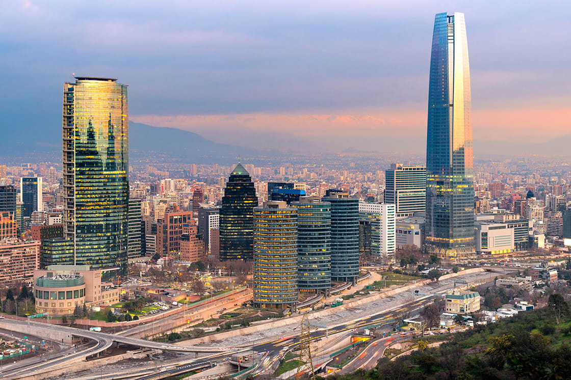 Skyline,Of,Santiago,De,Chile,With,Modern,Office,Buildings,At