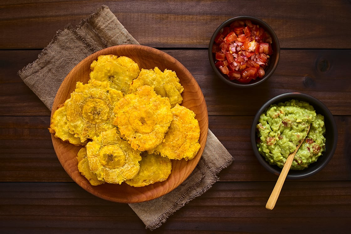 Patacon Or Toston, Fried And Flattened Pieces Of Green Plantain