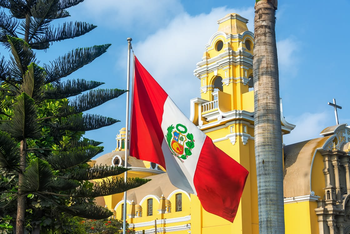 Barranco's Cathedral And The Peruvian Flag In Barranco Neighborhood