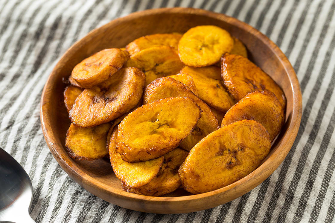 Homemade Fried Plantains In A Bowl