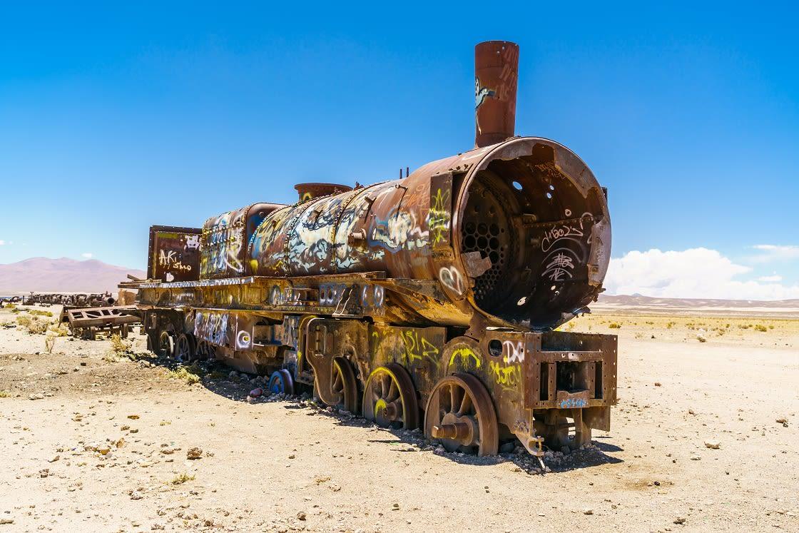 Rusty Train In The Train Cemetery - Uyuni