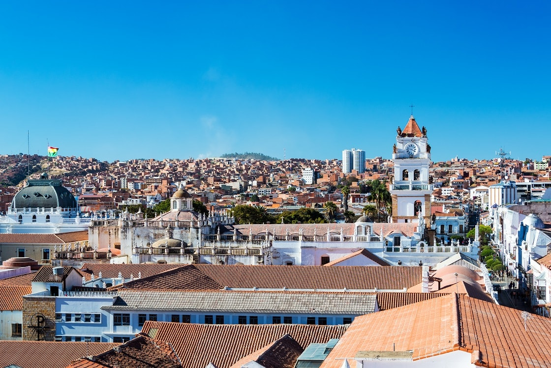 Cityscape Of Sucre Bolivia With The Tower Of The Cathedral