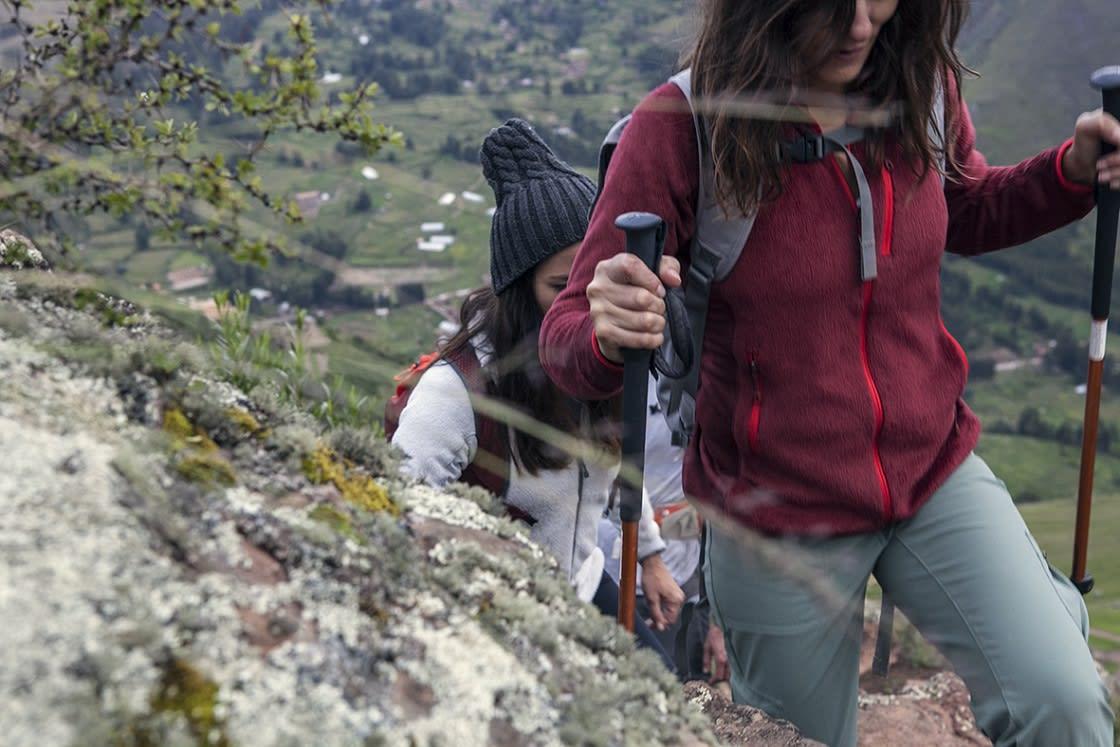 Line Of Tourists Hiking To Machu Picchu