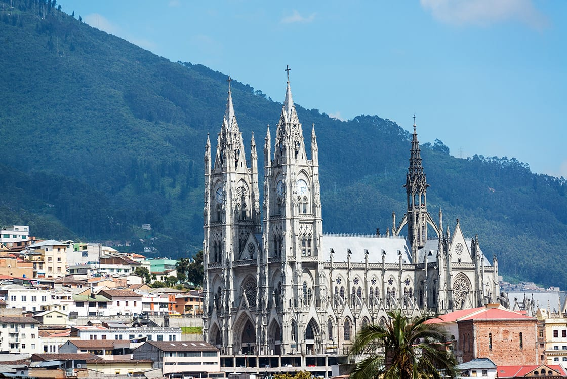 The Basilica Of Quito Ecuador Towering Above The Historic Old Town