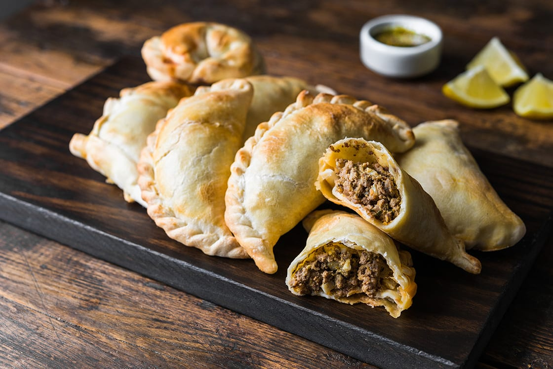 Traditional Baked Argentine Empanadas Savoury Pastries With Meat Beef Stuffing