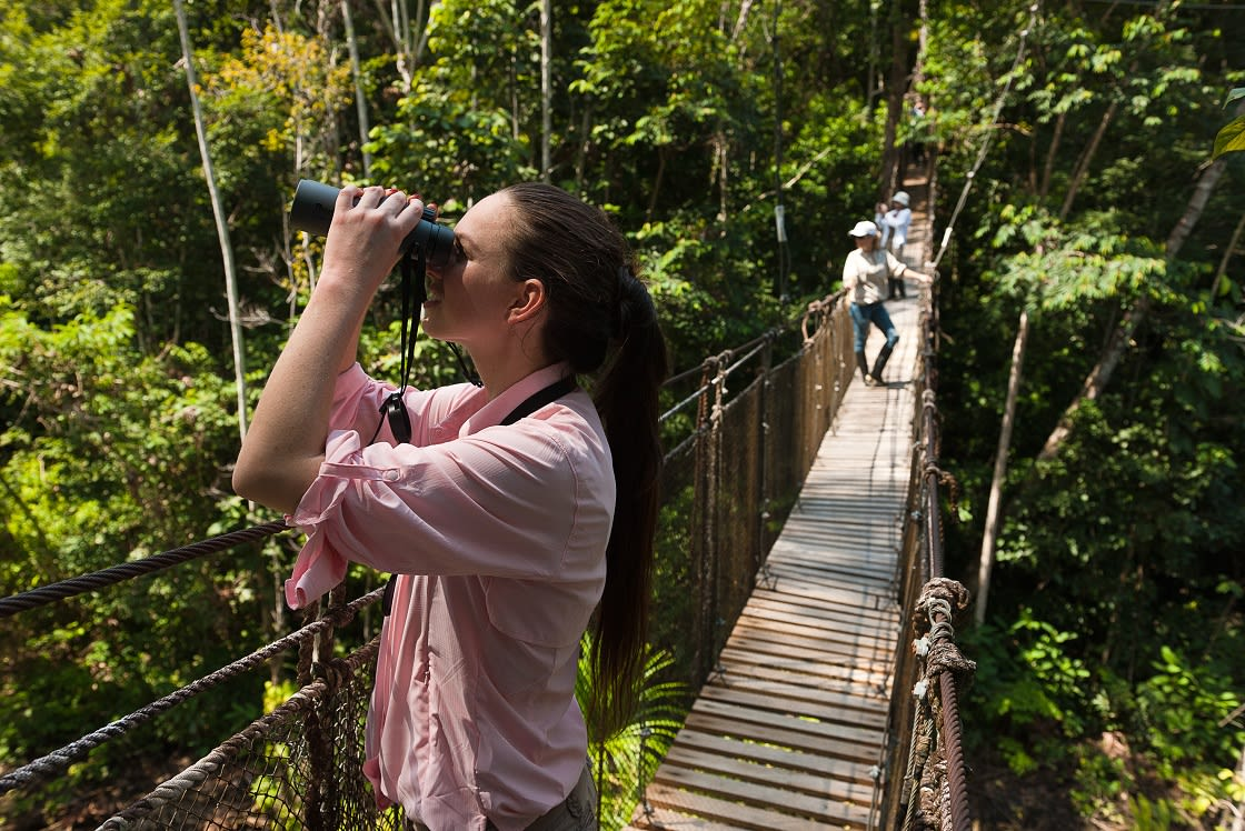 Young Lady wearing a pink shirt looking for animals in the jungle