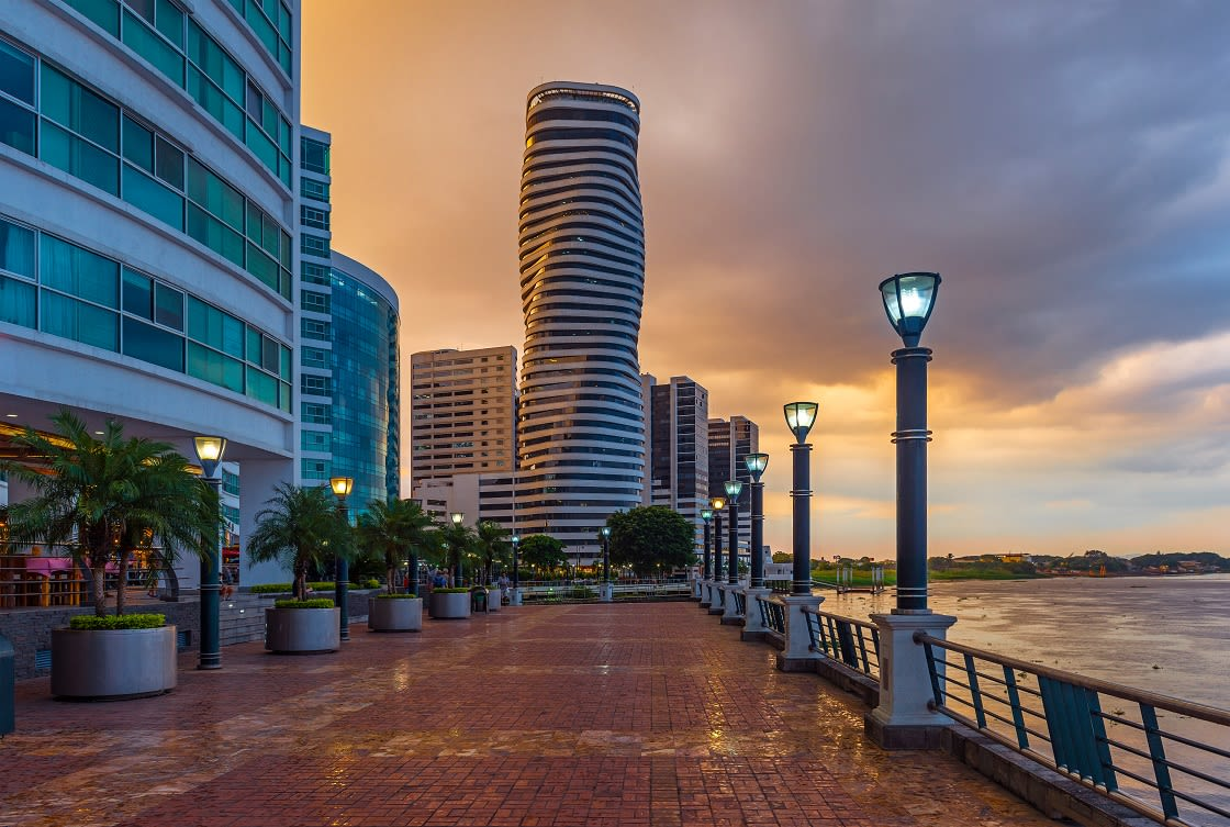 Cityscape Of Guayaquil City At Sunset