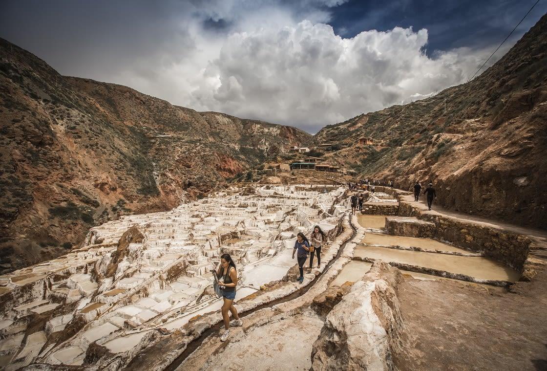 Touring In Maras Salt Mines, Cusco Peru