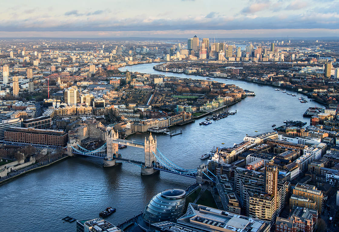 Arial,View,Of,London,With,The,River,Thames,And,Tower