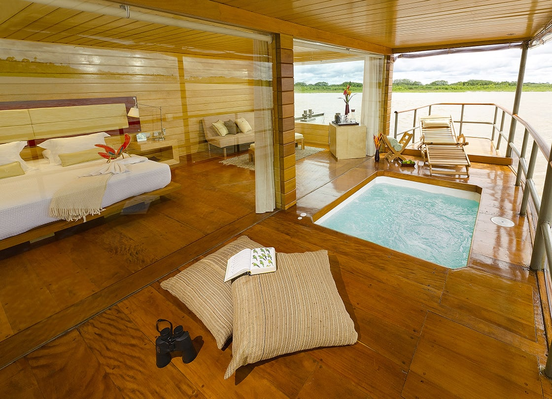 jacuzzi and luxurious cabin aboard delfin in the pacaya samiria reserve