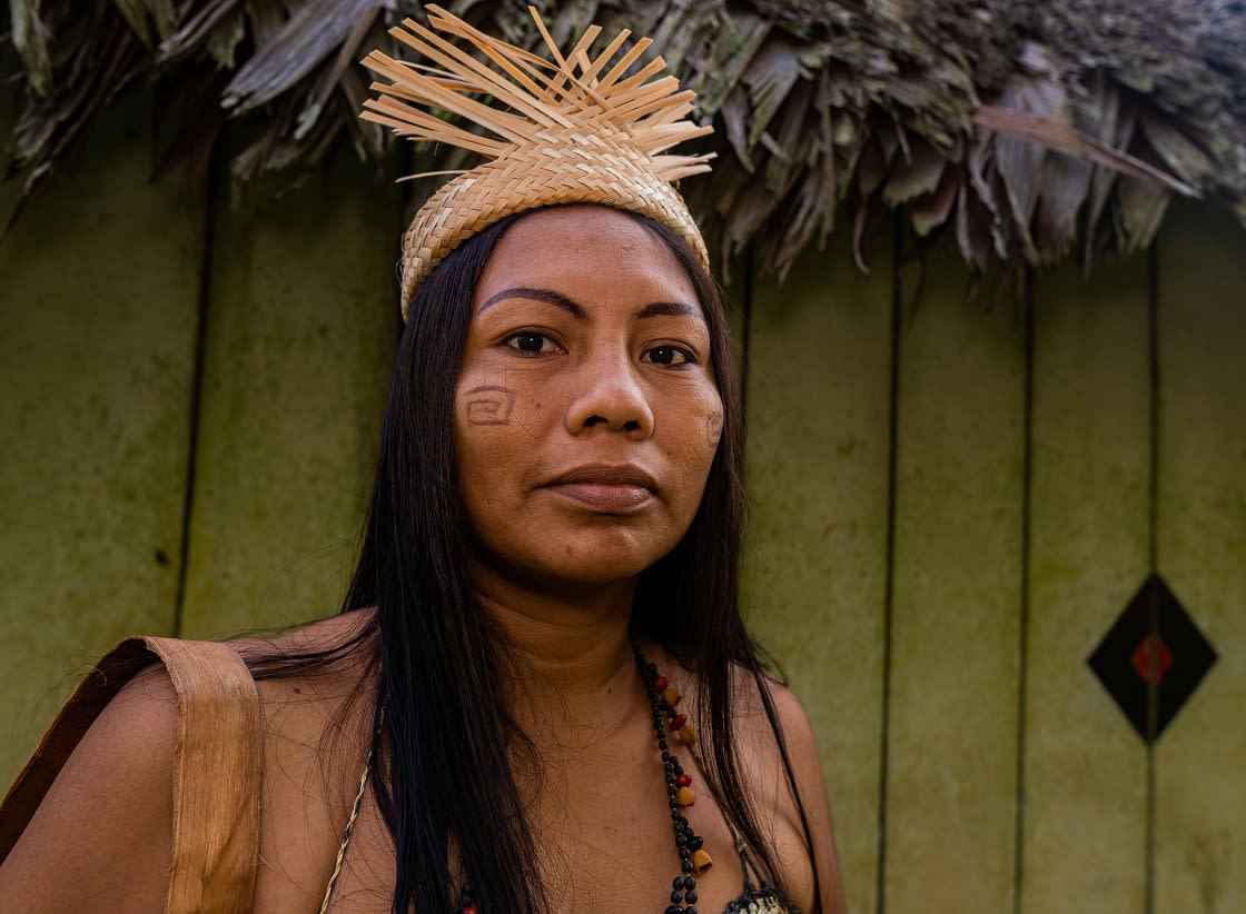 Indigenous Woman From The Huitoto Tribe, Colombian Amazon