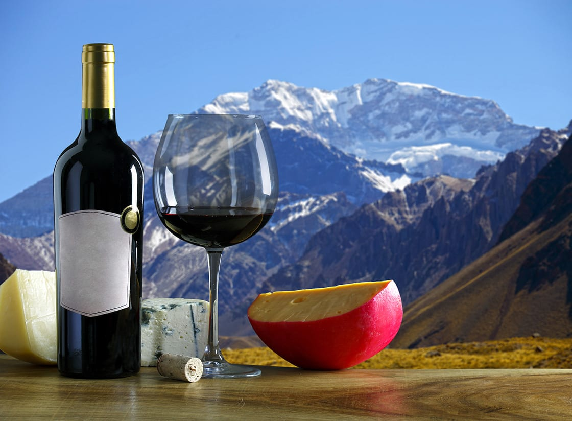 Argentine Wine And Cheese And The Aconcagua Mountain In The Back