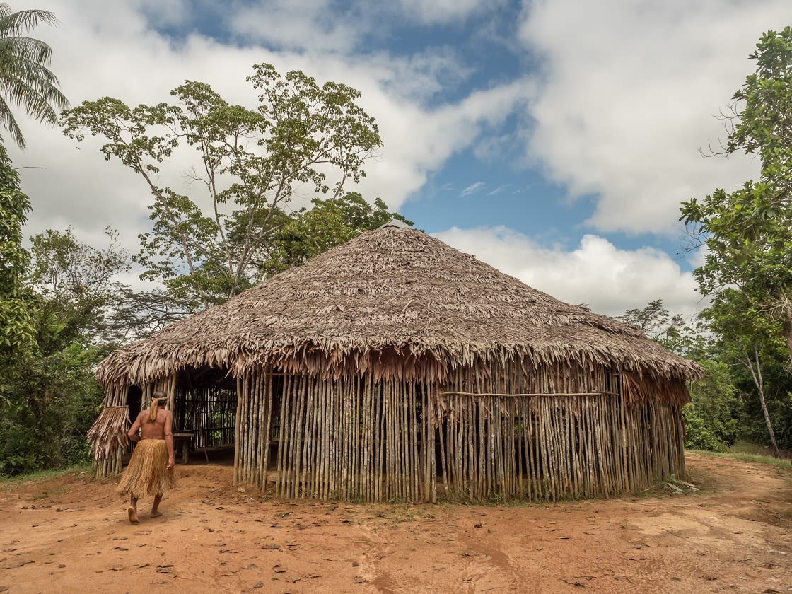 A House Of Yagua Tribe In The Peruvian Amazon