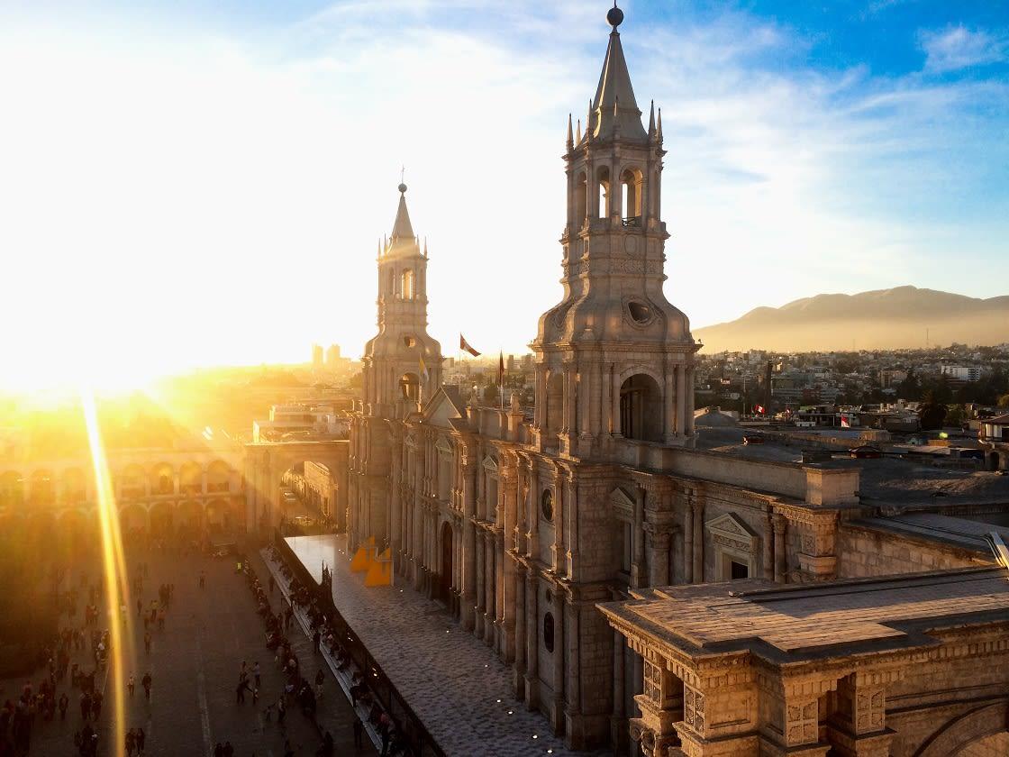 Basilica Cathedral At Plaza De Armas Arequipa - Peru