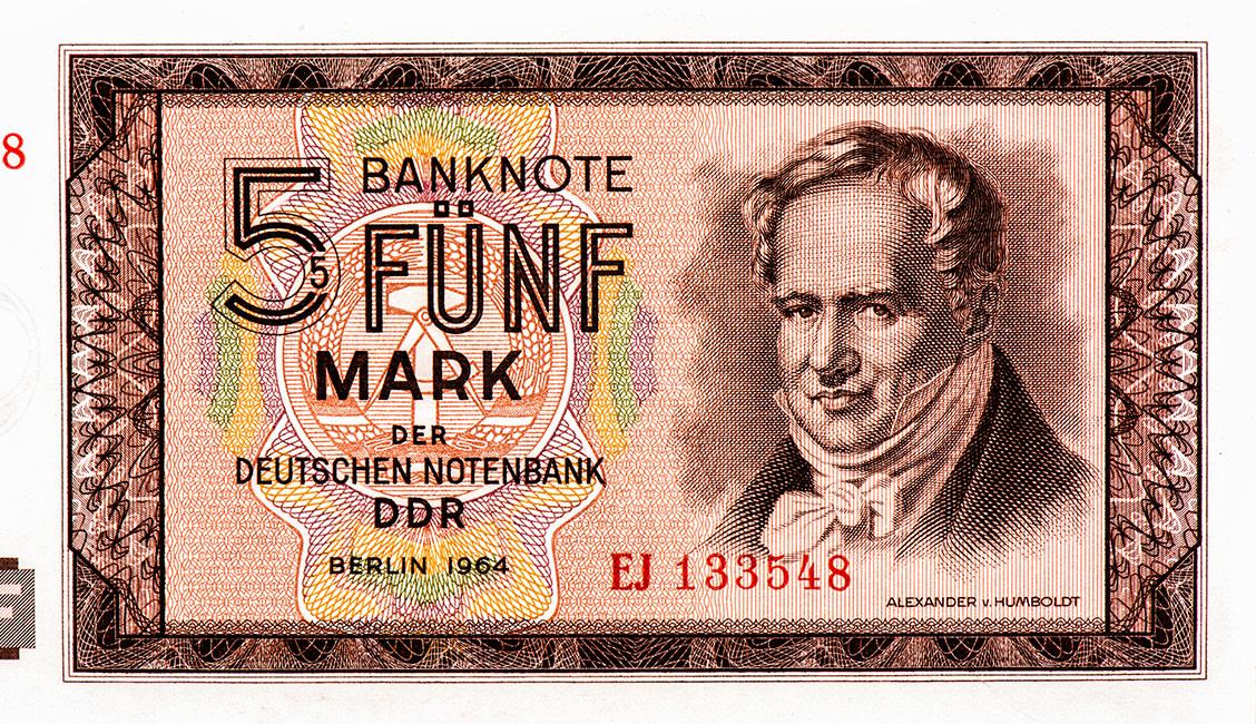 Alexander Von Humboldt Portrait From East German 5 Mark, 1964