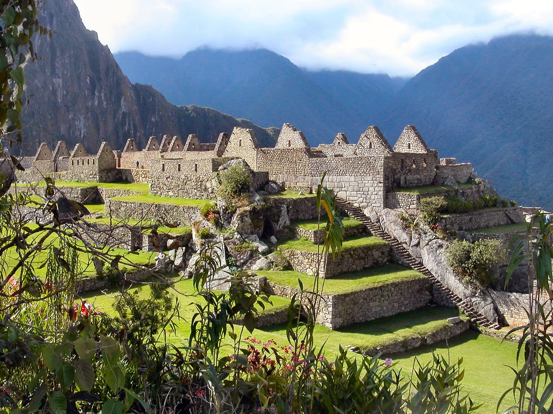 Central Plaza And Flowers At Machu Picchu