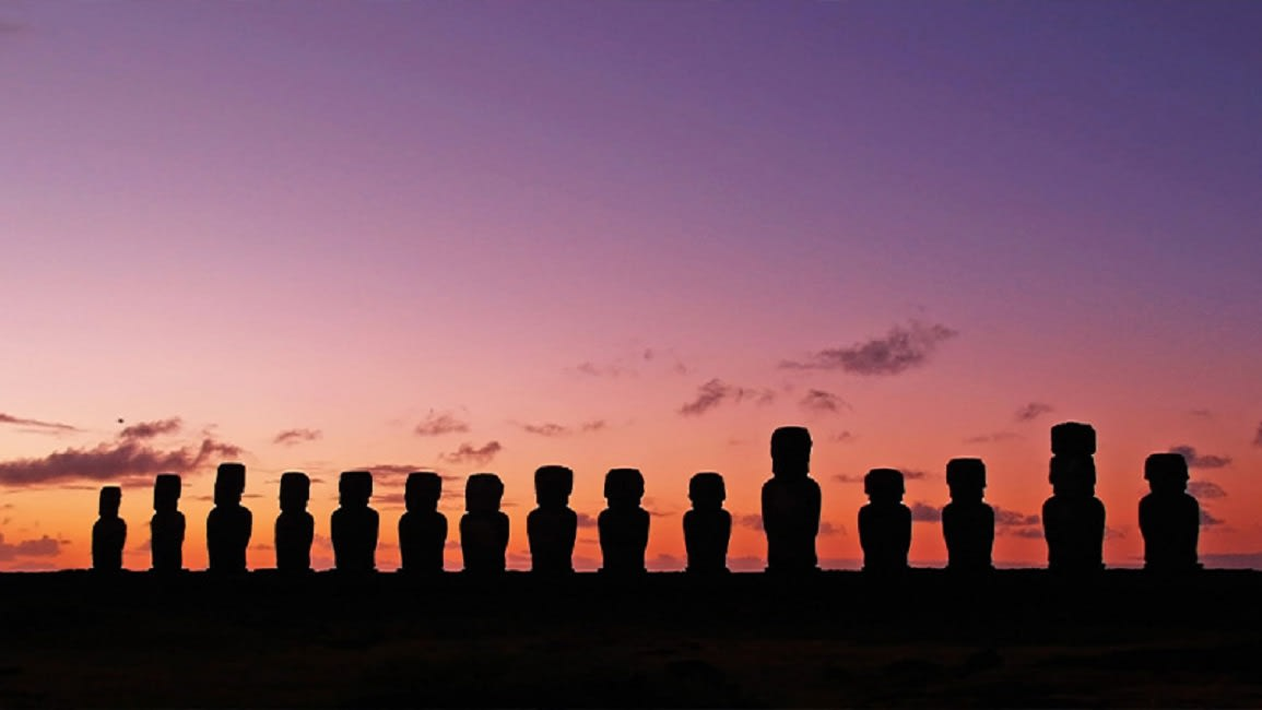 Sunset Behind The Moai