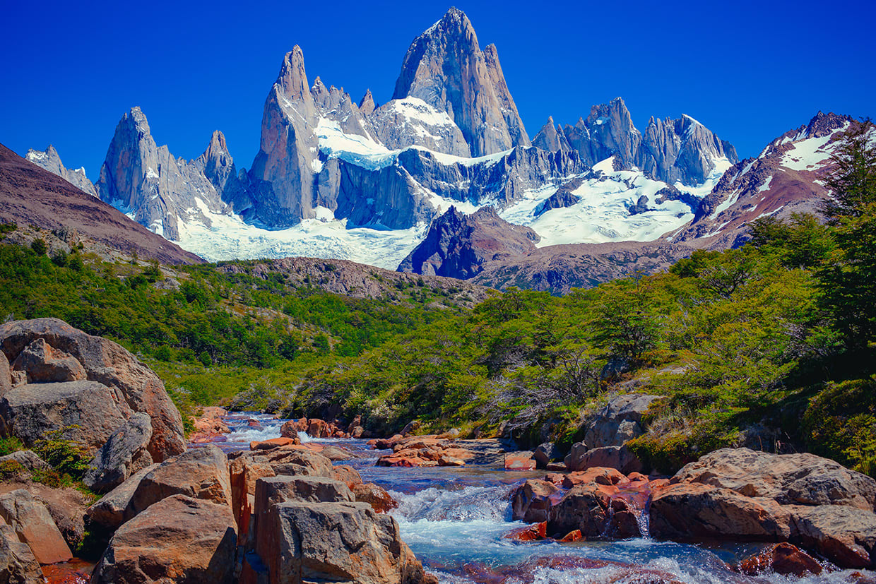 River And Fitz Roy Mountain
