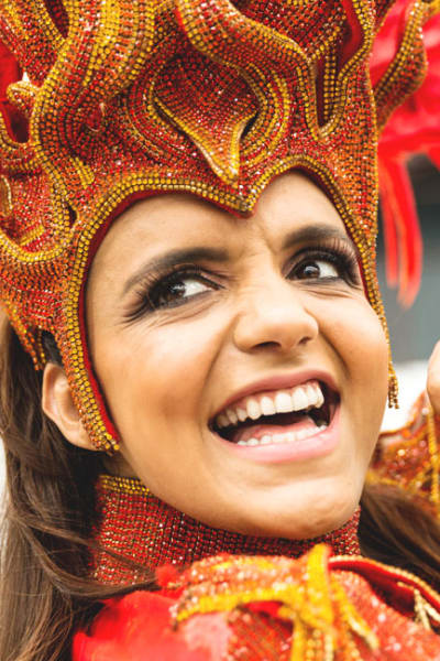 Samba dancer smiling face in Rio