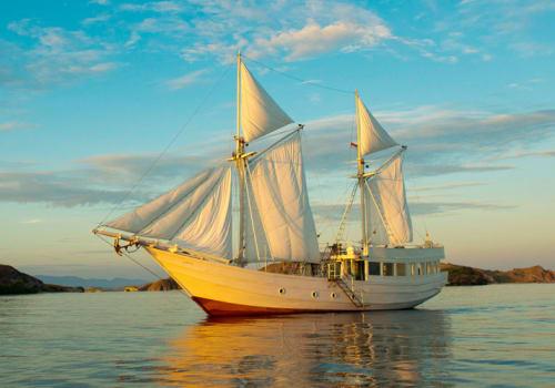 Ship in the sunset light