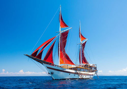 Ship under red sails