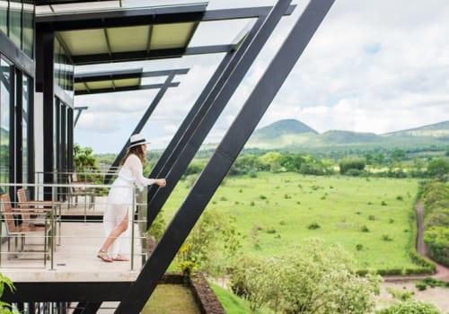 A woman on a terrace