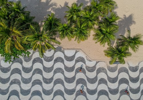 View of Ipanema boardwalk Brazil Rio
