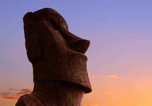 Single Moai Easter Island Sunset