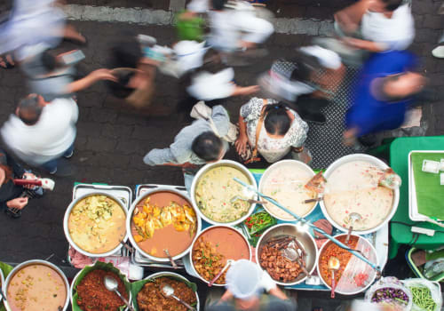 asian spices and people walking in a market